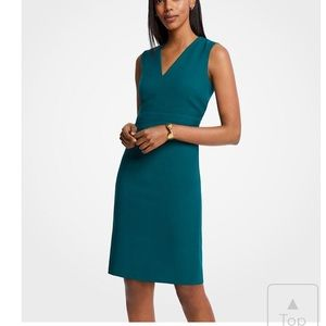 Ann Taylor Doubleweave Sheath V-Neck Dress Sz 4